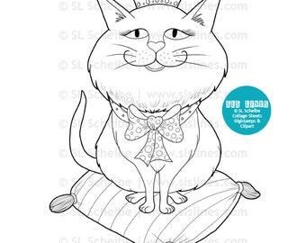 princess spoiled cat digital stamp, fat round kitty with smiling face digistamp coloring page