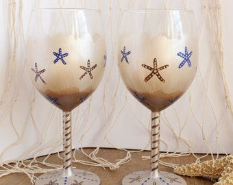 Champagne & Brown, Wine Glasses,  Hand Painted Pair of 2  with Starfish accents