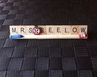 Teacher gift, Scrabble tray, desk plate with name