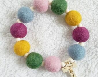 Wild Flowers Felt Ball Decade Rosary