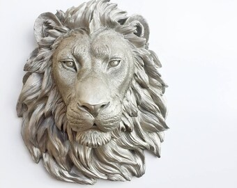 ANY COLOR or NICKEL Large African Lion Head Wall Mount // Faux Taxidermy // Statue / Leo / Wall Decor / Kingfour / Animal Head / Sculpture