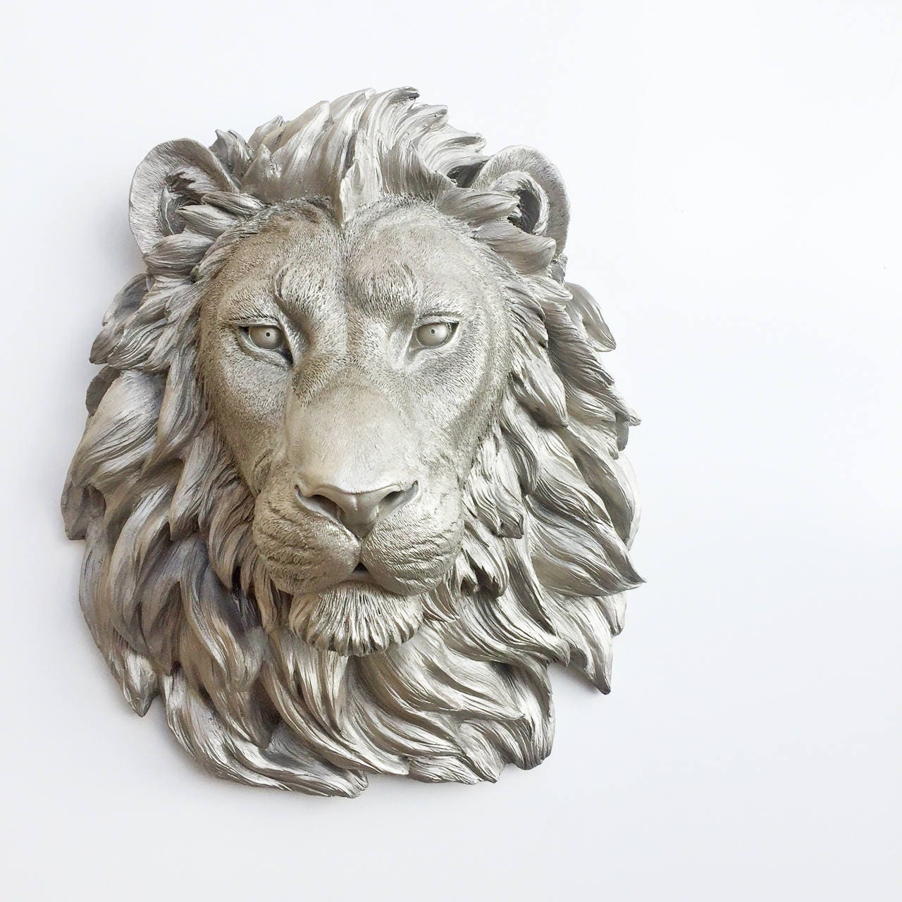 any color or nickel large african lion head wall mount faux. Black Bedroom Furniture Sets. Home Design Ideas