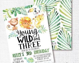 Wild Jungle Birthday Party Invitation, Printable, Young Wild and Three Invite, 3rd, Zoo Animals, Lion, Monkey, Turtle, Tropical, Safari