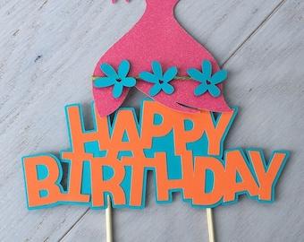 Trolls cake topper. Trolls happy birthday cake topper. Trolls birthday party. Trolls party. Trolls decoration.