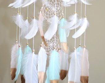 Baby Shower Gift, Baby Girl Mobile, Baby Nursery Decor, Baby Mobile Feather Dreamcatcher, Woodland Nursery Mobile, Gold Mint Pink Nursery