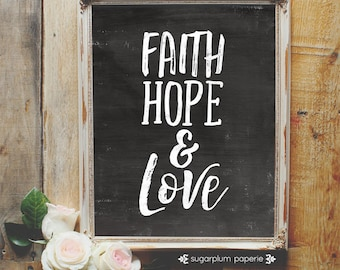 Art Print Wall Decor - Faith, Hope and Love Quote in Black - Printable in 11x14, 8x10, 5x7, 4x6 & 3x4