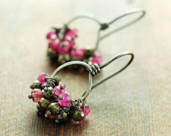Pink Sapphire Cluster Earrings, September Birthstone Sterling Silver Hoop Earrings, Pyrite Rustic Modern Jewelry