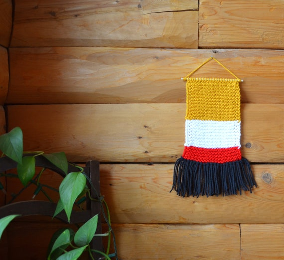 Knit Wall Hanging Home Decor Colorful Decor Knitted