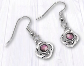 Silver Celtic Earrings As Seen on Jane the Virgin, Resin Jewelry, Light Pink Drop Earrings, Customizable Color, Great for Sensitive Ears
