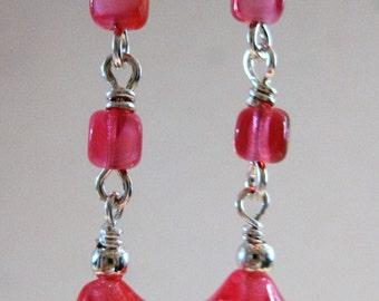 Deep pink German glass and silver earrings