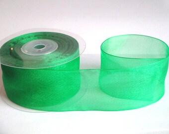 1 m 40mm Green organza Ribbon