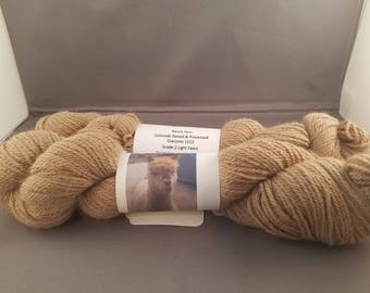Alpaca Yarn, home grown & processed in Colorado, 3ply sport, Light Fawn