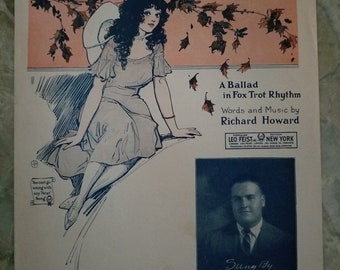 When The Leaves Come Tumbling Down, Vintage Sheet Music, A Ballad in Fox Trot Rhythm, 1942, Feist Song