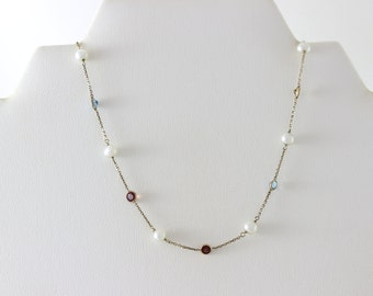 14K Yellow Gold Natural Gemstone  Pearl Garnet Citrine Topaz Peridot Amethyst Necklace 1 1/2 carats of stones