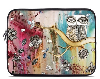 Laptop Sleeve Bag Case - Surreal Owl by CCambrea - Neoprene Padded - Fits MacBooks + More
