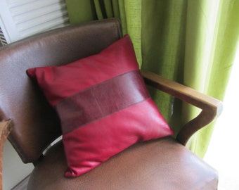 "Handmade one of a kind upcycled cherry red leather patchwork cushion / pillow with clay pipe tag. 16"" / 40cm  (Ref red stripe)"