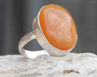 Chalcedony Ring, oval orange Chalcedony gemstone sterling silver ring, Chalcedony Solid silver ring Jewelry