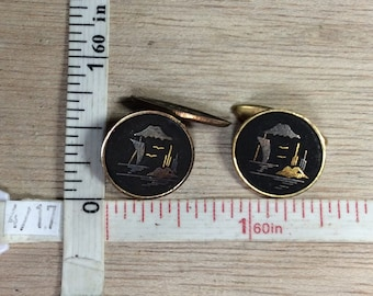 Vintage K24 Gold Toned Cuff Links Boat Mountain Water Scene Used