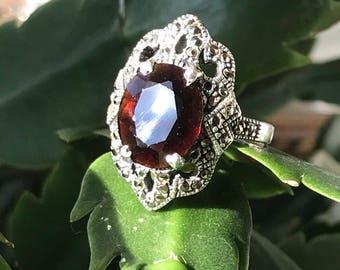 Art Deco Huge Natural Garnet Marcasite Sterling Ring Size 8