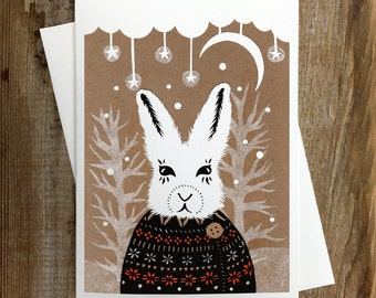Winter Hare Greeting Card - Blank Inside Holiday Christmas Solstice Winter Animals