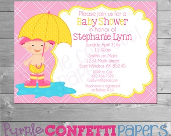 Umbrella Baby Shower Invitation, Baby Girl Baby Shower, Baby Sprinkle Invitation, Pink Yellow, Shower Invitation, Rain Showers, Umbrella