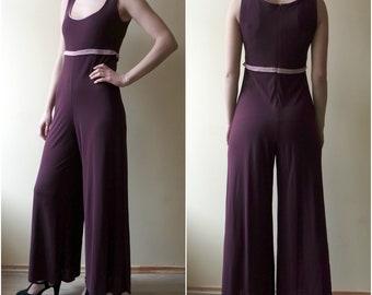 Vintage Women's  Purple Jumpsuit, Flared Jumpsuit,  Wide Leg Jumpsuit, Sleeveless Jumpsuit, 1970s/1980s