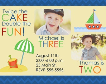 Join Birthday Party Invitation Beach Theme with Photos (Printable)