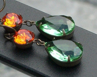 Vintage Glass Jewel Earrings - Autumn Glam