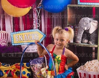 Circus, Big Top, Carnival, Fair, Photography Backdrop, Girl, Boy, Studio, Popcorn, Peanuts, Tickets, Clowns, Vinyl, Poly Paper, Fleece