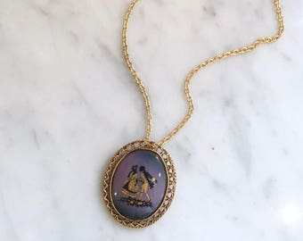 Vintage 60s Colonial Portrait Pendant Necklace Brooch
