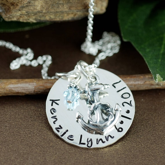 Silver Anchor Necklace, Hand Stamped Jewelry, Sterling Silver Mothers Necklace, Name and Date Necklace, Anchor Jewelry, Mommy Jewelry