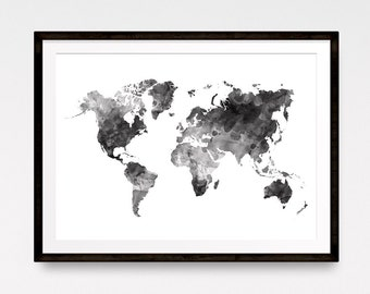 Black map watercolor world map world map poster large world watercolor world map watercolor map explore print large world map travel map gumiabroncs Image collections