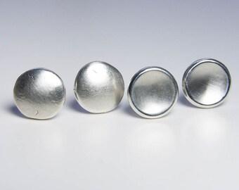 Two Pair Recycled Silver Earrings, Post Earrings. Stud Earrings. Rustic Pebble Earrings. Eco - Friendly Jewelry. Gift Under 50