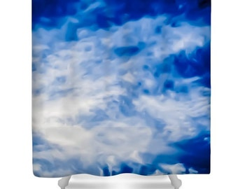 Unique Shower Curtain, Cloud, Sky, Blue,White, Bathroom Curtain, Bathroom Decor, Accessories, Designer Flower Shower Curtain, Nature, Skies