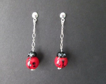Earrings- ladybugs on sterling silver chain- posts