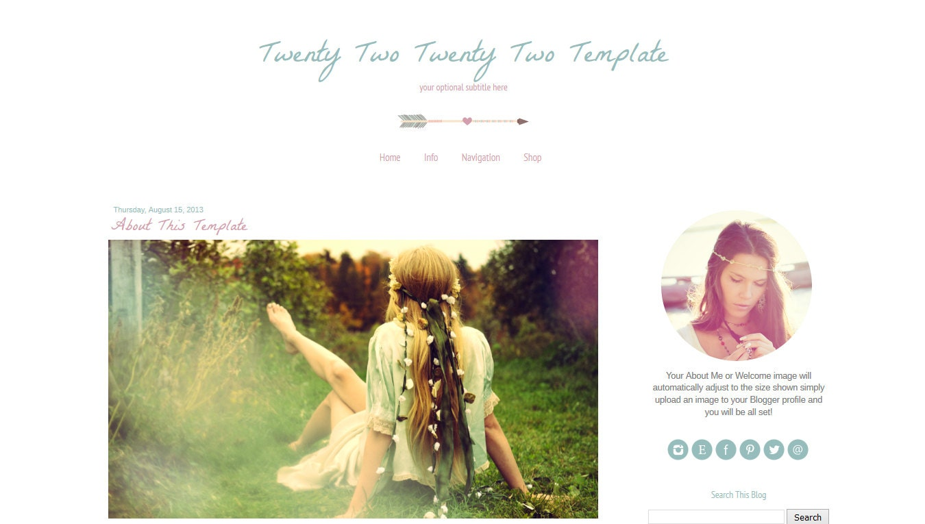 Premade Blogger Template Arrow Blog Template Boho Chic