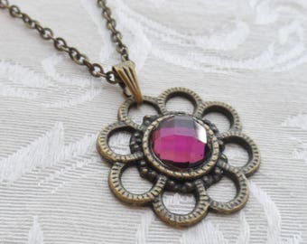 75% Off Sale Purple, Amethyst, Faceted Glass Necklace