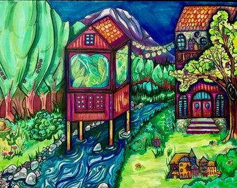 Canvas print (16X20) of River Greenhouse/ Treehouse no. 4