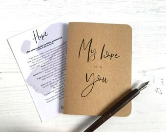Christian Mini  'Hope' Journal, Prayer Journal, Bible Journal, Kraft Scripture Journal, Ordination Gift, Wedding Gift, - Eco Friendly