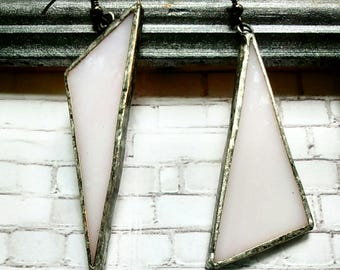 Pearly Mismatched Triangle Stained Glass Earrings, Triangular Earrings, Geometric Earrings, Minimalist Earrings, Asymmetric Earrings