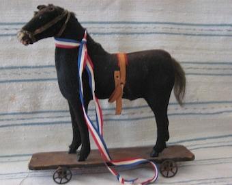 Antique Child's Toy Platform Horse on Wheels Circa 1890