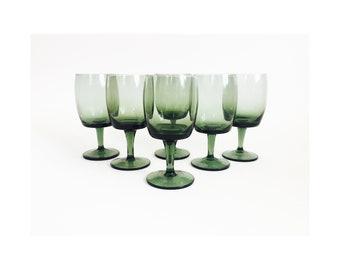 Mid Century Bavarian Green Wine Glasses / Set of 6 / Gorham Reizart