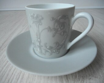 vintage Limoges porcelain decorative demitasse cup and saucer