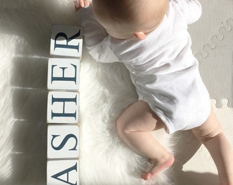 """3.5"""" Extra Large Personalized Baby Name Blocks - Wooden Letter Blocks - Shower Gift - Photo Prop - Painted Neutral Gray/Grey White"""