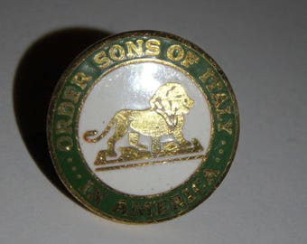 vintage Order Sons of Italy in America Member Italian Fraternal Pin Tie Tack