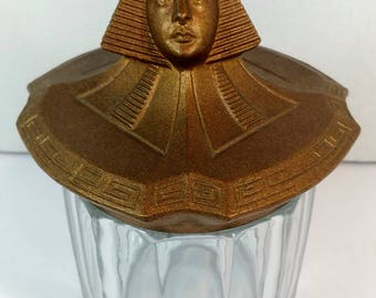 Fabulous Art Deco Egyptian Revival metal and glass humidor, 1920s Egyptian Revival humidor, vintage smoking accessory, smoking collectible