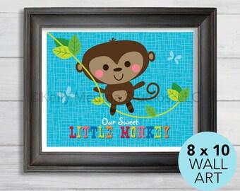 Little Monkey Nursery Art Print, 8 x 10, Baby Children Wall Art Decor, Our Little Monkey Wall Art by Kelly Medina