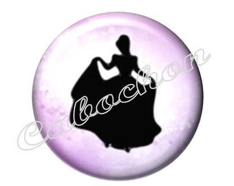 2 cabochons 25mm glass, Cinderella, Princess, pink and black tone
