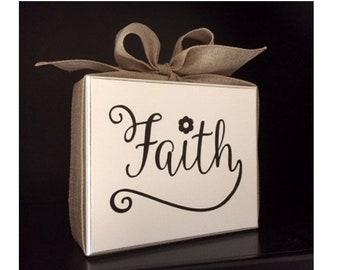 Faith Sign, Faith Block, Faith Decor, Religious Gift, LDS Gift, Wood Block with Burlap Bow, Inspirational Gift