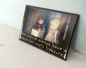 "Rectangle Fridge Magnet Adventures of Claudia ""A Place For One's Treasures"" Porcelain Bisque Doll Dollhouse Photography"